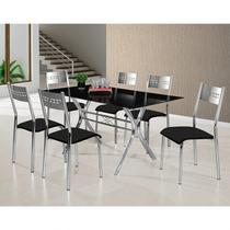 Conjunto de Mesa Tampo de Vidro e 6 Cadeiras Turim M. Londres Espresso Móveis Preto -