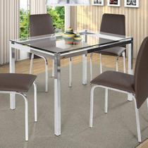 Conjunto de Mesa Tampo em Vidro 4 Cadeiras Barcelona Ciplafe Marrom -