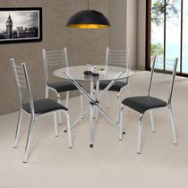 Conjunto de Mesa Tampo em Vidro 4 Cadeiras Camila Premium Ciplafe Cromado/Preto -