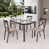 Conjunto de Mesa Tampo em Vidro 4 Cadeiras Karina Ciplafe Bronze/Linho Bege -