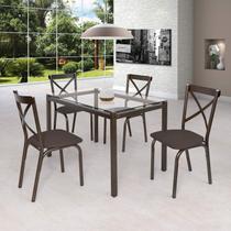 Conjunto de Mesa Tampo em Vidro 4 Cadeiras Karina Ciplafe Bronze/Linho Marrom -