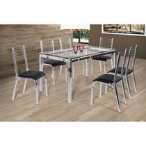 Conjunto de Mesa Tampo em Vidro 6 Cadeiras Camila Ciplafe Preto -