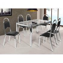 Conjunto de Mesa Tampo em Vidro 6 Cadeiras Cris Ciplafe Preto -