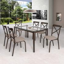 Conjunto de Mesa Tampo em Vidro 6 Cadeiras Karina Ciplafe Bronze/Linho Bege -