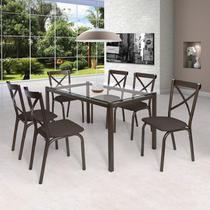 Conjunto de Mesa Tampo em Vidro 6 Cadeiras Karina Ciplafe Bronze/Linho Marrom -