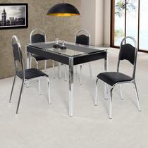 Conjunto de Mesa Tampo em Vidro com 4 Cadeiras Cris Ciplafe Preto/Cromado -