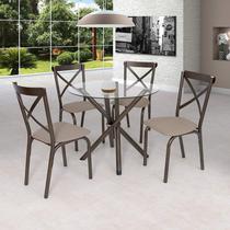 Conjunto de Mesa Tampo em Vidro com 4 Cadeiras Karina Ciplafe Bronze/Linho Bege -