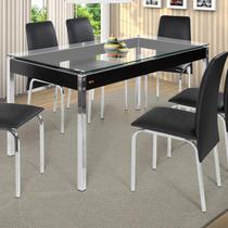 Conjunto de Mesa Tampo em Vidro com 6 Cadeiras Barcelona Ciplafe Castor -
