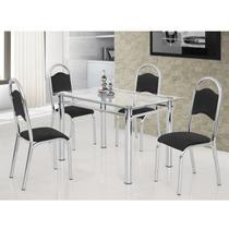 Conjunto de Mesa Tampo Vidro 120cmx75cm 4 Cadeiras Tubolar Cris Premium Ciplafe Preto/Cromado -
