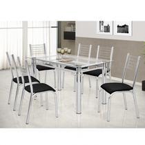Conjunto de Mesa Tampo Vidro 140cmx80cm 6 Cadeiras Cromadas Camila Premium Ciplafe Cromado/Preto -