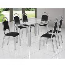 Conjunto de Mesa Tampo Vidro com 6 Cadeiras Cris Premium Ciplafe Preto/Cromado -