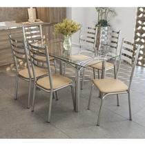 Conjunto de Mesa Tampo Vidro Elba com 6 Cadeiras Alemanha Crome Kappesberg Cromado/Nude -