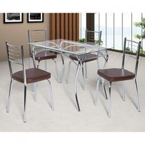 Conjunto de Mesa Tampo Vidro Lion com 4 Cadeiras Juliana Art Panta Cromado/Marrom -