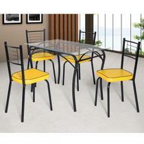 Conjunto de Mesa Tampo Vidro Lion com 4 Cadeiras Juliana Art Panta Preto/Amarelo -