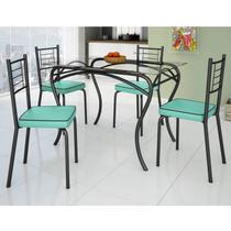 Conjunto de Mesa Tampo Vidro Lion com 4 Cadeiras Juliana Art Panta Preto/Verde Claro -