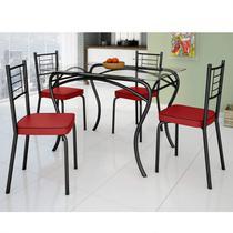 Conjunto de Mesa Tampo Vidro Lion com 4 Cadeiras Juliana Art Panta Preto/Vermelho -