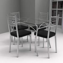 Conjunto de Mesa Tampo Vidro Lion com 4 Cadeiras Juliana Yescasa Cromado/Preto -