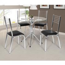 Conjunto de Mesa Tampo Vidro Redondo com 4 Cadeiras Camila Premium Ciplafe Cromado/Preto -