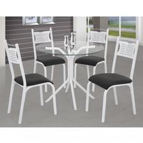 Conjunto de Mesa Tampo Vidro Redondo com 4 Cadeiras Poeme X Clássica Ciplafe Branco/Preto -