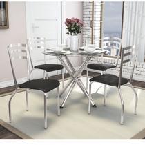 Conjunto de Mesa Tampo Vidro Volga com 4 Cadeiras Portugal Crome Kappesberg Cromado/Preto -