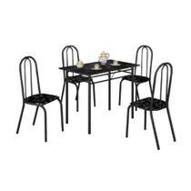 Conjunto de mesa Teixeira Realeza tampo MDP com 04 cadeiras craqueadas - PRETO - Moveis Teixeira