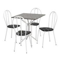 Conjunto de Mesa Thais com 4 Cadeiras Branca Preto Flor - Artefamol