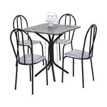Conjunto de Mesa Thais com 4 Cadeiras Craqueado Preto Linho - Artefamol