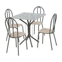 Conjunto de Mesa Thais com 4 Cadeiras Craqueado Preto Rattan - Artefamol