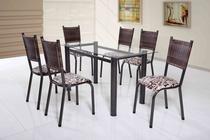 Conjunto de mesa Tubular com 6 cadeiras Mariana 140cm Tampo de Vidro Paonanda Tubulares Cestaplus -
