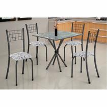 Conjunto de Mesa Tubular Dany Tampo de Mármore 4 Cadeiras Soma Prata Cestaplus -