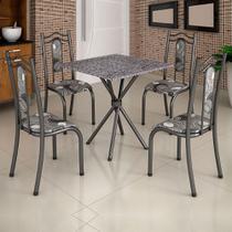 Conjunto de Mesa Uruguai 0,70m Tampo Granito com 4 Cadeiras 620/15 Madmelos Craquelado Dark / Folha -