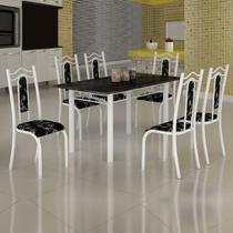 Conjunto de Mesa Uruguai 1,40m Tampo Ardósia com 6 Cadeiras 620/13 Madmelos Branco / Preto Flor -