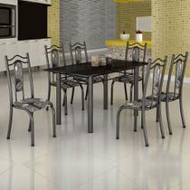 Conjunto de Mesa Uruguai 1,40m Tampo Ardósia com 6 Cadeiras 620/15 Madmelos Craquelado Dark / Folha -