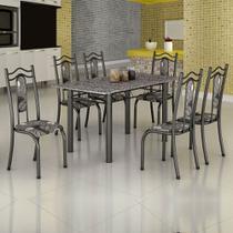Conjunto de Mesa Uruguai 1,40m Tampo Granito com 6 Cadeiras 620/15 Madmelos Craquelado Dark / Folha -