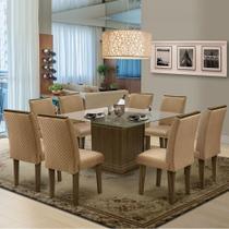 Conjunto De Mesa Vegas 1,36M Com 8 Cadeiras Florença Lx Dobuê Castanho Kaki -