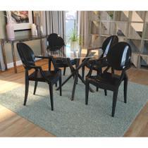 Conjunto de Mesa Volga com 4 cadeiras Polipropileno - Preto - Kappesberg
