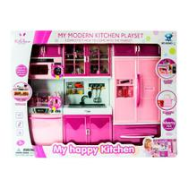 Conjunto de Mini Cozinha Infantil Completa - Rosa - My Happy Kitchen - Com Luz e Som - Yes Toys -