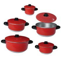 Conjunto de Panela Vermelho Alumínio Jogo com 5 Peças - Tenesin