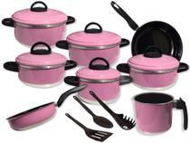 Conjunto de Panelas 11Pçs- Frigideiras Antiaderente-C/Caçarolas Rosa Pink + Os Utensílios de Brinde - Nb