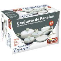 Conjunto De Panelas - 5 Peças Cerâmica - Chumbo - Catuai