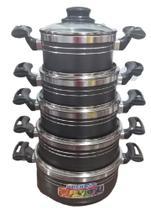 Conjunto de Panelas Aluminio Cinza Craqueada Tampa Vidro 5 Peças Grenada -Bela -