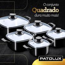 Conjunto De Panelas Caçarola Quadrada Preta 5 Peças Patolux -