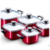 Conjunto De Panelas Caçarola Quadrada Vermelha 5 Peças Patolux -