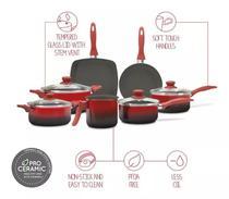 Conjunto de Panelas com 7 Peças Antiaderente Brinox Ceramic Life Smart Vermelha -