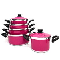Conjunto de Panelas de Alumínio Reforçado 5 Peças Rosa Pink - Aluminio Amj