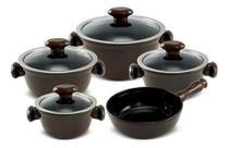 Conjunto De Panelas De Cerâmica Ceraflame  5 Peças Chef - Chocolate -