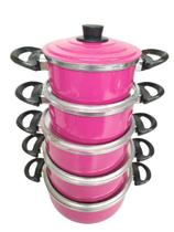 Conjunto De Panelas Em Aluminio Coloridas Cor Rosa 5 Peças - Panelasbrasil