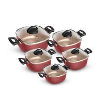 Conjunto de Panelas Quadrada Caçarola 5 Peças Antiaderente Vermelho/Creme - Patolux -
