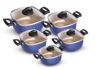 Conjunto De Panelas Quadradas Patolux 5 Peças Antiaderente Azul/Creme -