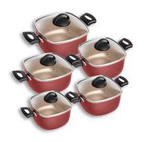 Conjunto De Panelas Quadradas Patolux 5 Peças Antiaderente Vermelho/Creme -